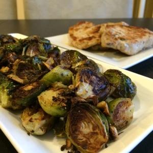 Paleo Catwon Pork Chops & Garlic Brussies