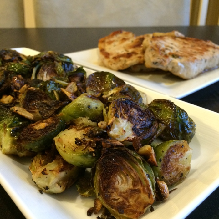 Paleo Catwon Pork Chops & Garlic Brussies