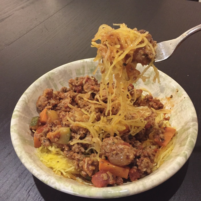 Paleo Catwon Spaghetti Squash & Meat Sauce